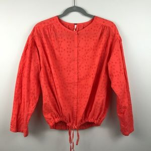 Free People Button Down Blouse with Tie Waist